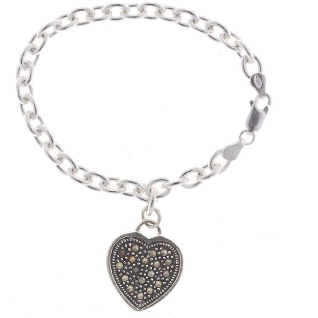 Glitzy Sterling Silver Marcasite Heart Charm Bracelet, Wo...