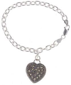 Glitzy Rocks Sterling Silver Marcasite Heart Charm Bracelet|https://ak1.ostkcdn.com/images/products/736721/Glitzy-Rocks-Sterling-Silver-Marcasite-Heart-Charm-Bracelet-P951828.jpg?impolicy=medium