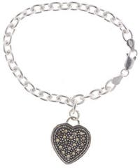 Glitzy Rocks Sterling Silver Marcasite Heart Charm Bracelet