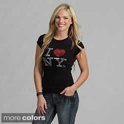 Women's Rhinestone 'I Love NY' T-shirt