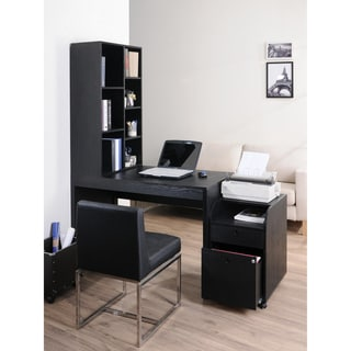 Furniture of America Zayo Black Finish Office Desk with Bookshelf