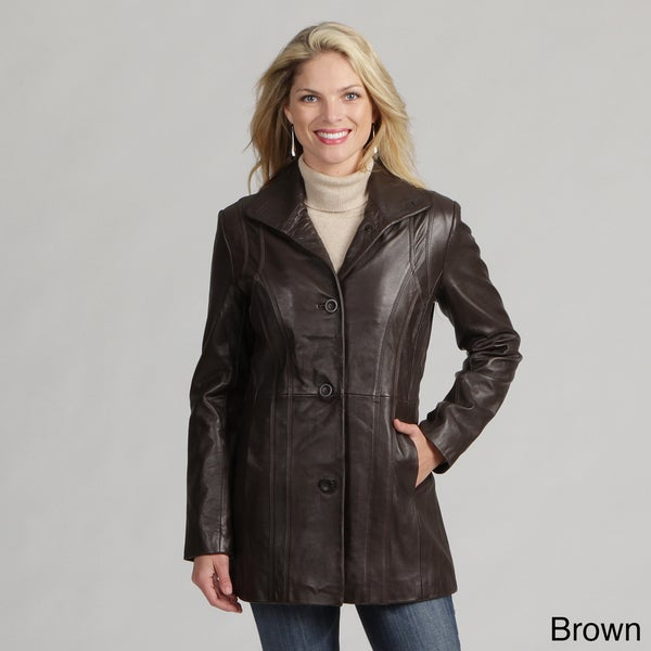 Izod Women's New Zealand Lamb Leather Coat