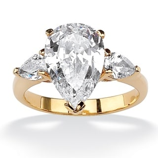 PalmBeach 4.89 TCW Pear-Cut Cubic Zirconia Three-Stone Bridal Engagement Ring 18k Gold-Plated Glam CZ