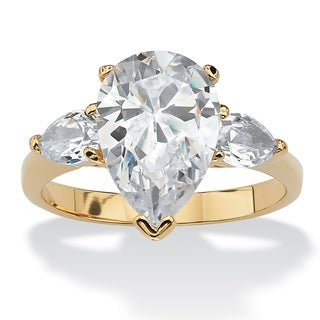 Yellow Gold Plated Cubic Zirconia 3 Stone Bridal Ring White