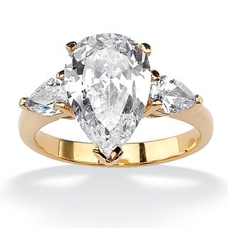 4.89 TCW Pear-Cut Cubic Zirconia Three-Stone Bridal Engagement Ring 18k Gold-Plated Glam C
