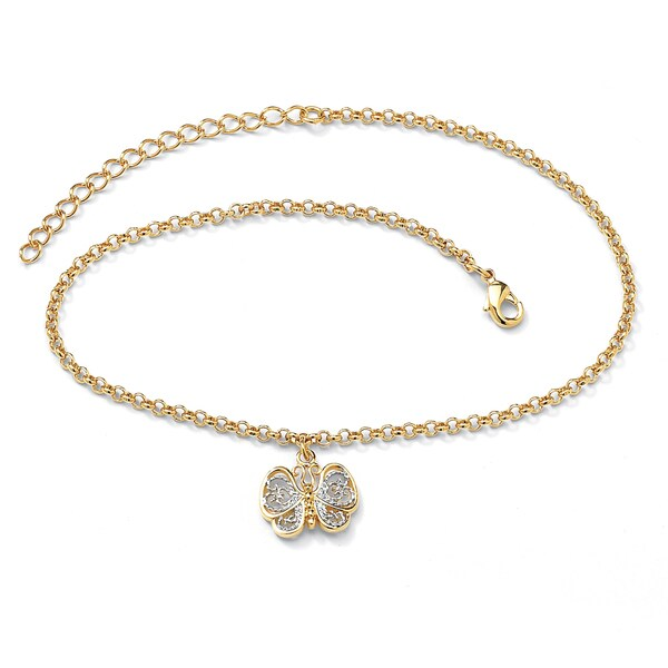 "18k Gold-Plated Two-Tone Filigree Butterfly Ankle Bracelet Adjustable 9"" to 11"" Tailored"
