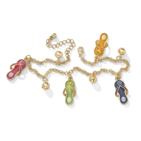 Austrian Crystal Enamel Flip-Flop Ankle Bracelet in Yellow Gold Tone Color Fun