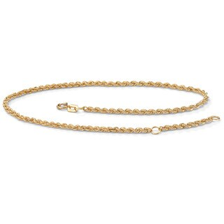 "10k Yellow Gold Tailored Rope Ankle Bracelet Adjustable 9"" to 10"" Tailored"