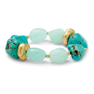 "PalmBeach Viennese Turquoise and Lab-Created Chalcedony Nugget Stretch Bracelet in Yellow Gold Tone 7"" Naturalist"