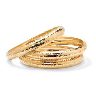 14k Yellow Gold 3 Piece Hammered Style Bangle Bracelets Set