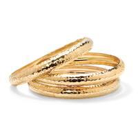 Goldtone plated 3 Piece Hammered Style Bangle Bracelets Set