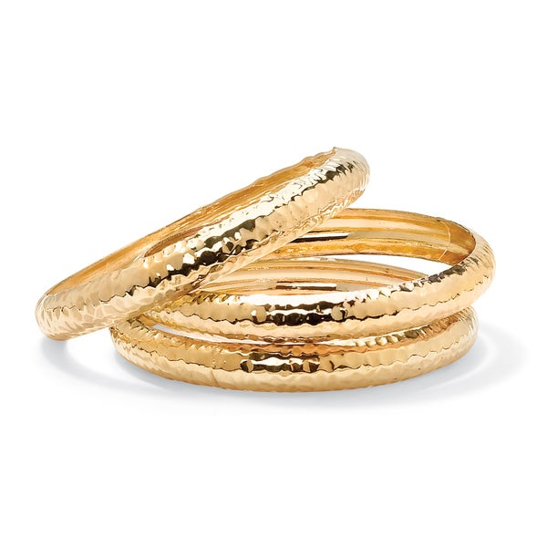 PalmBeach 14k Yellow Gold 3 Piece Hammered Style Bangle Bracelets Set
