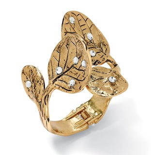 "Crystal Leaf Bangle Bracelet in Yellow Gold Tone 9"" Bold Fashion"