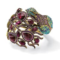 Yellow Gold Overlay Multicolor Crystal Peacock Hinged Bangle