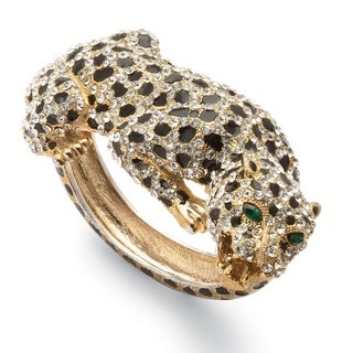 PalmBeach Crystal Enamel Leopard Hinged Bangle Bracelet in Yellow Gold Tone Bold Fashion