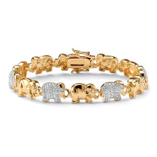 PalmBeach 18k Yellow Gold-plated Pave Cubic Zirconia Elephant Link Charm Bracelet