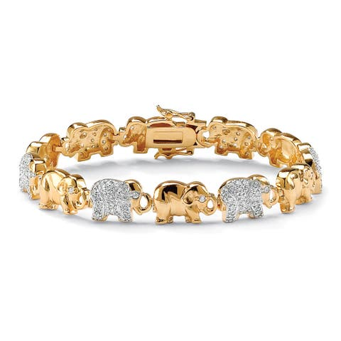 Yellow Gold-Plated Round Elephant Charm Bracelet Cubic Zirconia (1 1/3 cttw TDW)