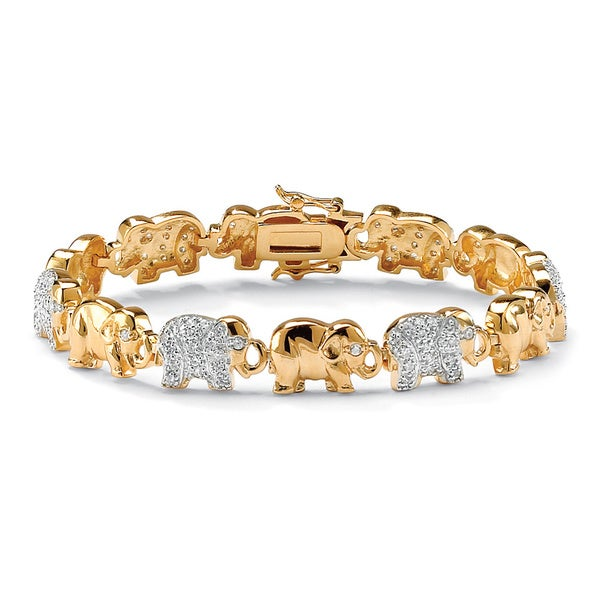 18k Yellow Gold-plated Pave Cubic Zirconia Elephant Link Charm Bracelet