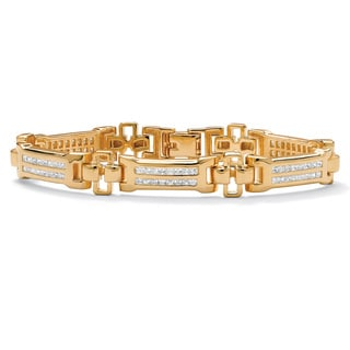 PalmBeach Men's 3.52 TCW Channel-Set Cubic Zirconia 18k Gold-Plated Bar-Link Bracelet 8""