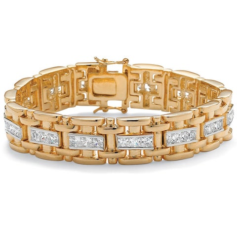 Men's Yellow Gold-Plated Link Bracelet (14mm), Princess Cut Cubic Zirconia, 8.25""