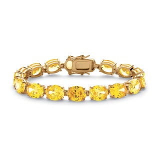 "PalmBeach 38.10 TCW Oval Cut Canary Yellow Cubic Zirconia 14k Yellow Gold-Plated Tennis Bracelet 7 1/2"" Glam CZ"