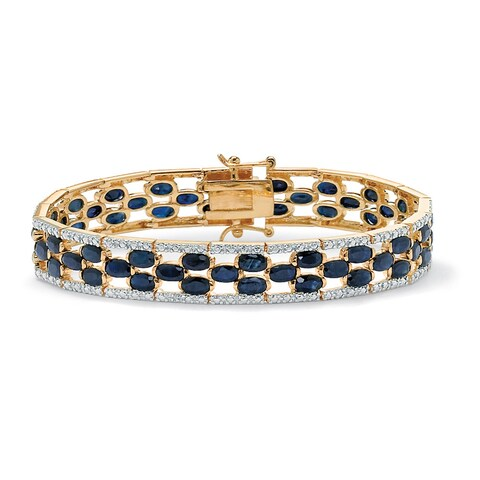 Yellow Gold-Plated Round Genuine Diamond and Oval Blue Genuine Tennis Bracelet Sapphire, (20 5/8 ct) ( Color, Clarity)