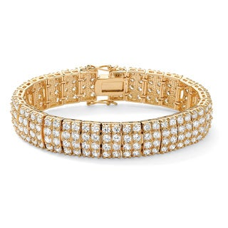 "PalmBeach 20.00 TCW Round Cubic Zirconia 14k Yellow Gold-Plated Multi-Row Station Tennis Bracelet 7 1/2"" Glam CZ"