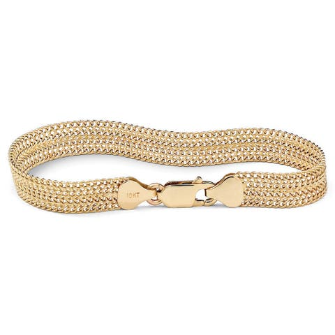 10k Gold 7.25-inch Tailored Mesh Link Bracelet