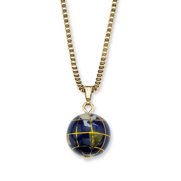 PalmBeach Lapis Mosaic Globe Pendant Necklace in Yellow Gold Tone Color Fun