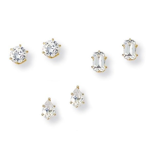 Ultimate CZ Gold Overlay Cubic Zirconia 3-pair Earring Set