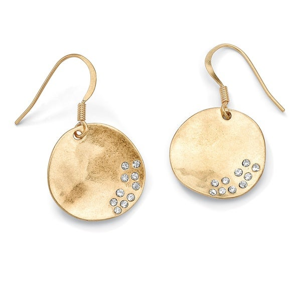 "PalmBeach Austrian Crystal Organic Shape Disk Earrings in Yellow Gold Tone 18"" Tailored"