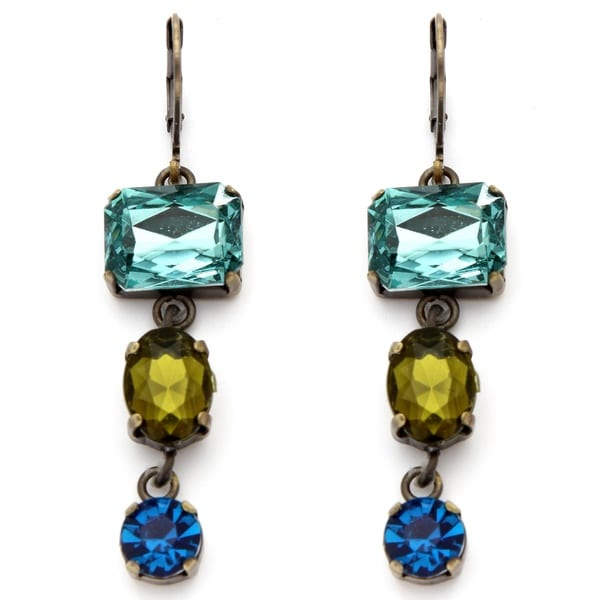 PalmBeach Blue and Green Faceted Lucite Earrings Bold Fashion