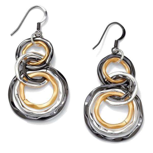 PalmBeach Tri-tone Metal Multi-circle Drop Earrings Bold Fashion
