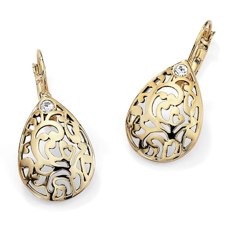 Round Crystal Accent Gold-Plated Filigree Pear-Shaped Drop Earrings Color Fun
