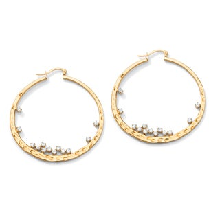 PalmBeach 1.56 TCW Round Cubic Zirconia Hammered Hoop Earrings in Yellow Gold Tone Glam CZ
