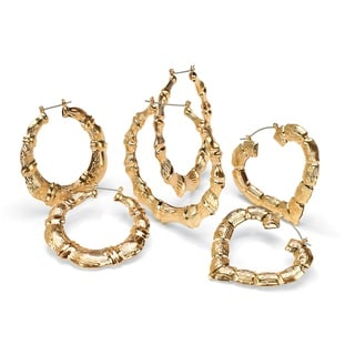 PalmBeach 3 Pair Bamboo Style Hoop Earrings Set in Yellow Gold Tone Bold Fashion
