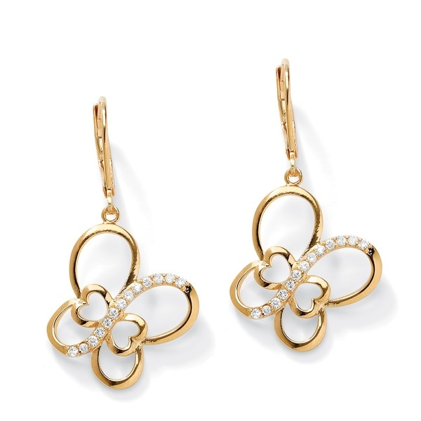 Ultimate CZ 14k Gold-plated CZ Butterfly Drop Earrings
