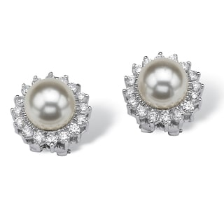 1.06 TCW Cubic Zirconia and Pearl Sterling Silver Button Earrings Naturalist
