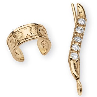 "PalmBeach .33 TCW Round Cubic Zirconia Ear Pins and ""X & O"" Ear Cuff in 18k Gold over Sterling Silver Classic CZ"