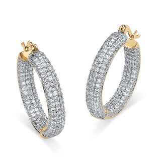 6.0 TCW Round Cubic Zirconia 14k Gold-Plated Inside-Out Hoop Earrings Glam CZ