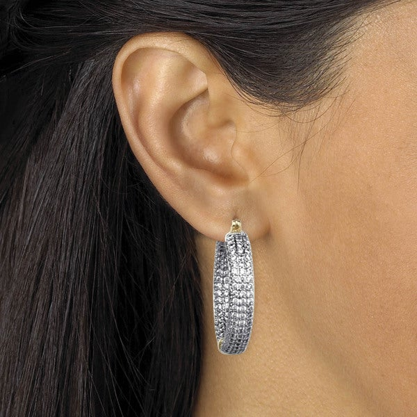 Pretty New Silver Plated Clear Cubic Zirconia Pave CZ Round 15mm Hoop Earrings