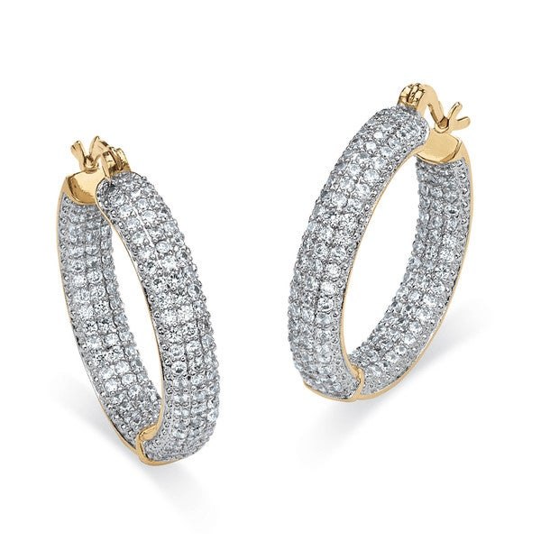 PalmBeach 6.0 TCW Round Cubic Zirconia 14k Gold-Plated Inside-Out Hoop Earrings Glam CZ