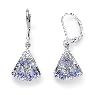 PalmBeach 1.28 TCW Pear-Cut Genuine Tanzanite Diamond Accent Platinum over Sterling Silver Fan-Shaped Earrings