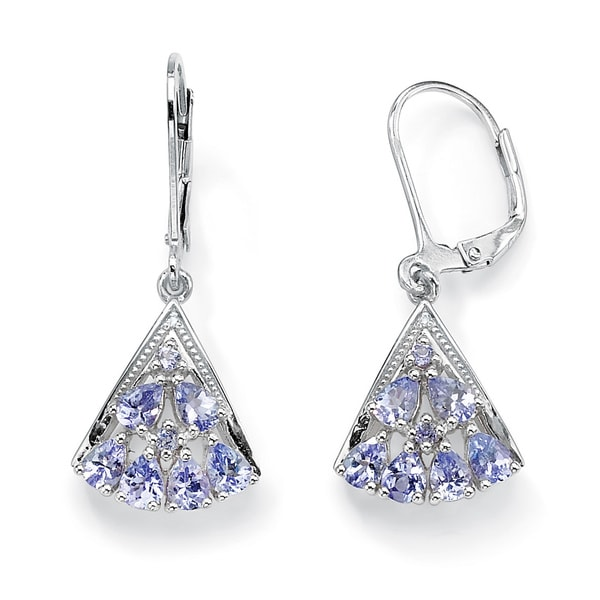 1.28 TCW Pear-Cut Genuine Tanzanite Diamond Accent Platinum over Sterling Silver Fan-Shape