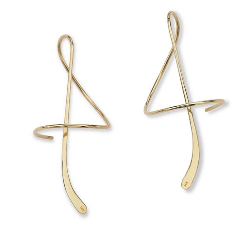 Tailored Collection 14k Yellow Gold Spiral Drop Earrings