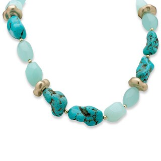"""Viennese Turquoise and Simulated Chalcedony Nugget Necklace in Yellow Gold Tone 16"""" Natura"""