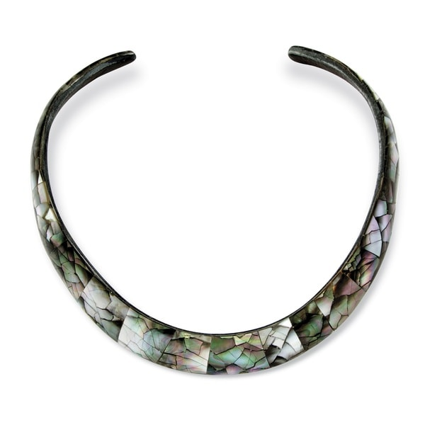 PalmBeach Black Mother of Pearl Choker Necklace Naturalist