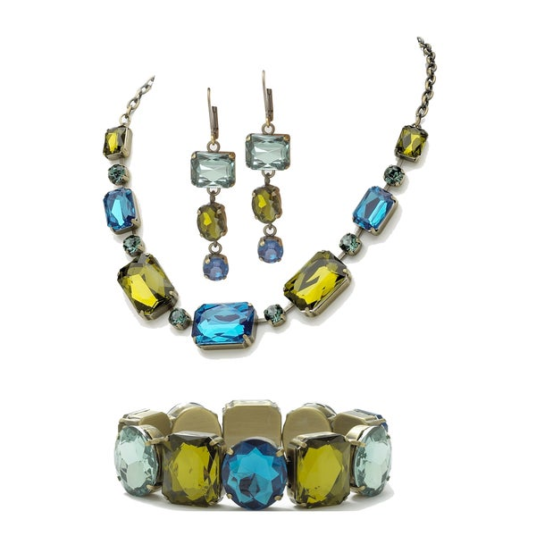 PalmBeach Gold Overlay Blue/ Green Faceted Lucite Antiqued Jewelry Set Bold Fashion