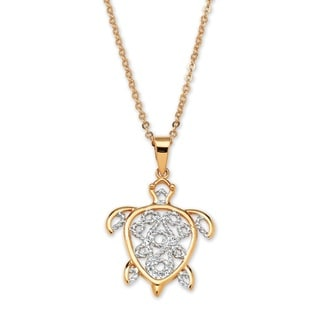 """PalmBeach 18k Gold-Plated Filigree Turtle Pendant and Chain 18"""" Tailored"""