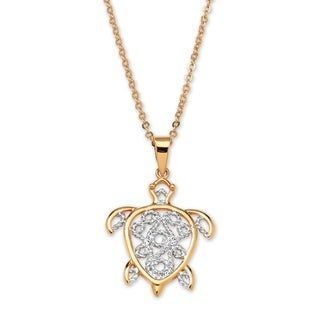 """18k Gold-Plated Filigree Turtle Pendant and Chain 18"""" Tailored"""